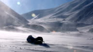 Drifting snow and Blizzard in the far North, Longyearbyen, Svalbard. video
