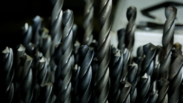 Drill large diameter in a large quantity for machine tools closeup video