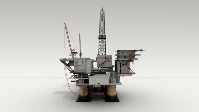 Drill ship on white ground for presentation, center view. video