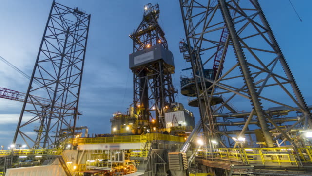 drilling rig - day to night, time lapse video