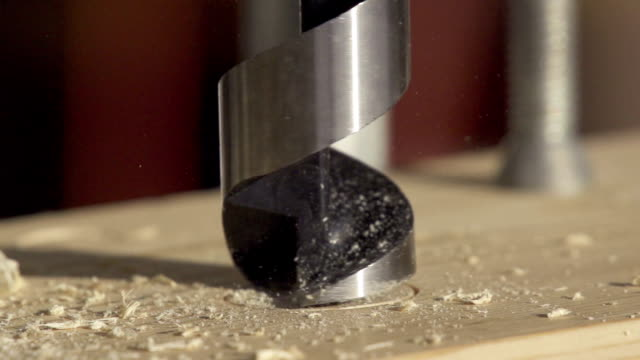 Drilling Wood Slow Motion video