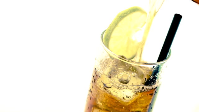 drink coke with lime slice isolated on white background, summer time video