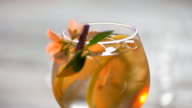 Drink decorated with a flower. video