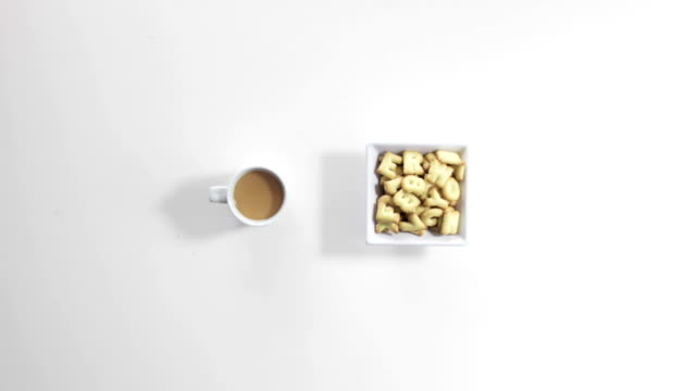 drinking coffee and eating cookies stop motion animation video