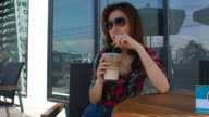 Drinking Coffee at cafe video