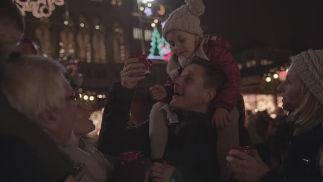 Drinking punch on Christmas market video