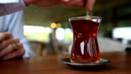 Drinking Turkish Tea in a Cafe. video