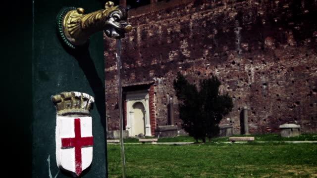 Drinking water fountain in Sforza Castle, Milan, Italy video