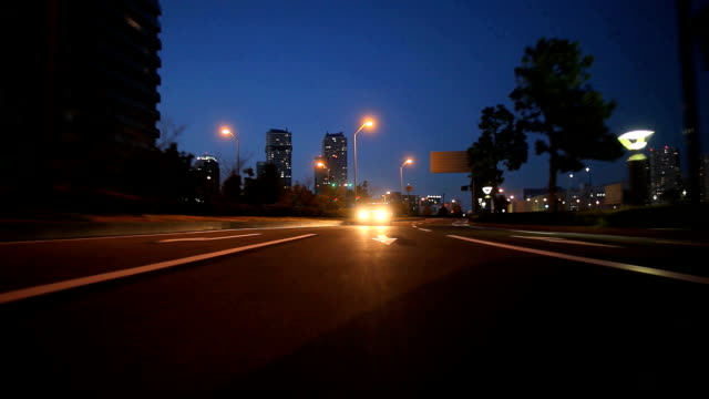 Drive in Yokohama at dusk,Rear View video