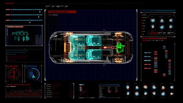 Drive shaft system, Engine, interior. Top view. digital display panel. video