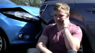Driver Making Phone Call After Traffic Accident video