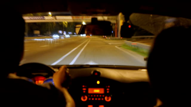 Driver making sharp turn, drunk driving at night, car accident, police pursuit video