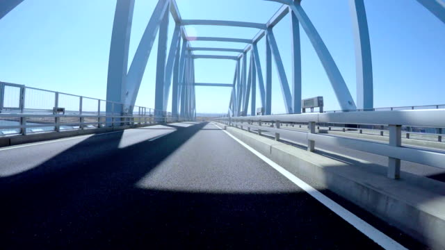 Driver's POV through the highway bridges in central Tokyo on a sunny blue day. video