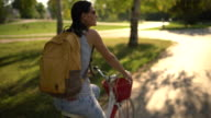 Driving a bike in the park video