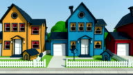 driving along cartoon suburban houses video