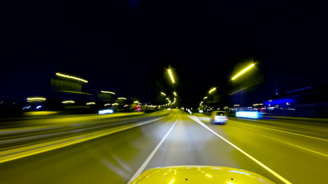 driving at night, timelapse video