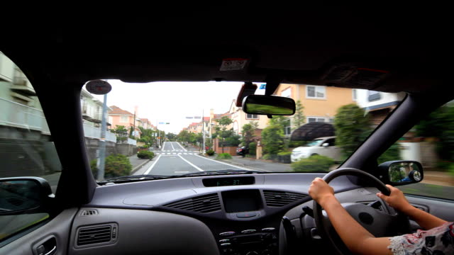 Driving at residential street video