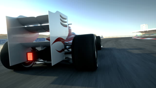 driving behind Race car on desert circuit video