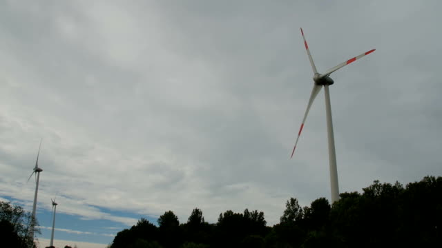 Driving by the wind farm in the evening video