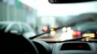 HD: Driving Car in The Rain video