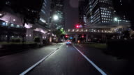 Driving city at night - 4K video