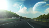 Driving fast, fantasy landscape. video