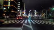 Driving Ginza street at night -4K video