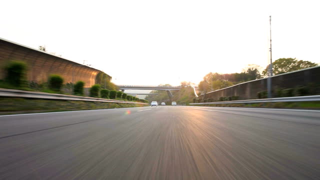 Driving highway at dusk,Rear View video