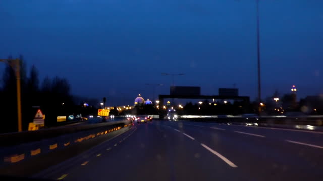 Driving highway at night in Manchester, England video