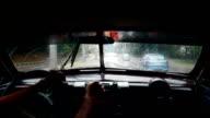 Driving in an old vintage taxi car in La havana road in Cuba video