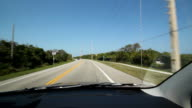 Driving in Florida. Highway corner. video
