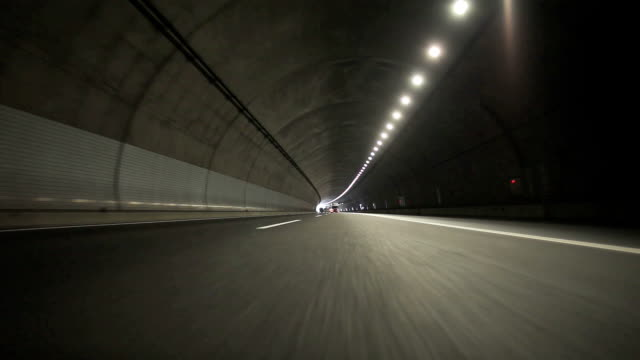 Driving in tunnel- Rear View video