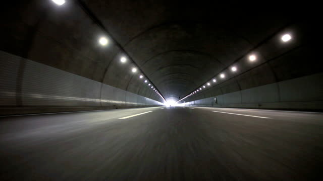 Driving in tunnel - Rear view video