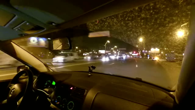 Driving night city streets. View from inside. video