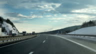 HD SLIDE: Driving on a highway in winter time video