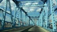Driving on an old Bridge over the Ohio River like Brooklyn Bridge  - CINCINNATI, OHIO USA video
