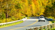 Driving on Blue Ridge Parkway in Fall with Golden Leaves video