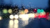 Driving on dark rainy night, rack focus video