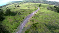 SUV Driving On Dirt Road Aerial video