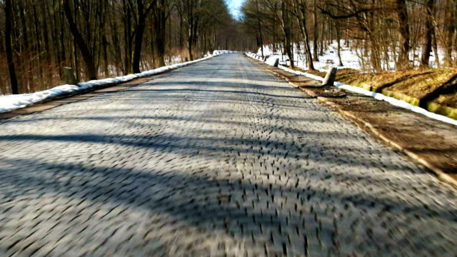 Driving on road with cobblestones video