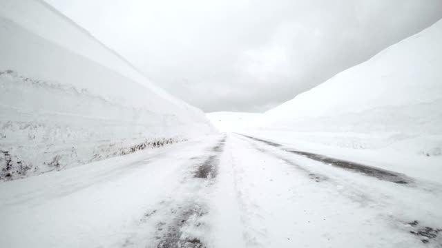 Driving on snowy winter road video