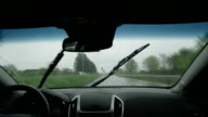 SLOW MOTION: Driving on the highway in bad weather conditions video