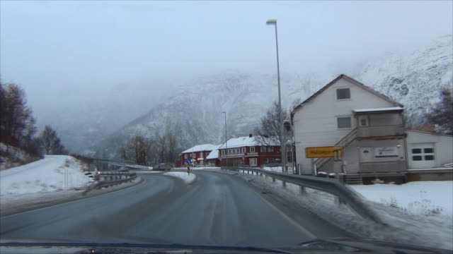 Driving on the Road in snowing , Norway. video