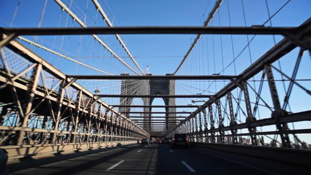 POV driving over Brooklyn Bridge video