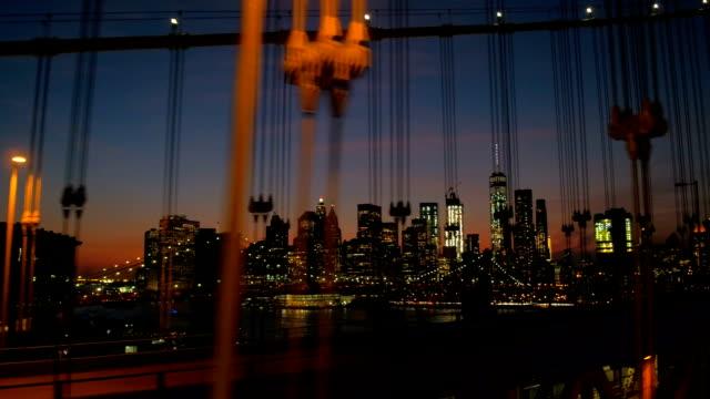 Driving over Manhattan Bridge overlooking Brooklyn Bridge and Manhattan downtown video