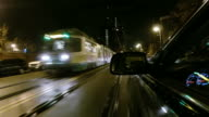 Driving past a Green line streetcar in Boston video