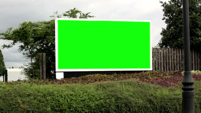 Driving past an Advertising Billboard - Green screen video