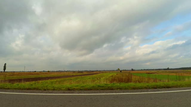 Driving Road along country fields video