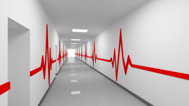 Driving through abstract white hospital corridor with doors, red pulse lines on walls and glowing end. 3d animation video