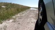 4X4 driving trough deep puddle - slow motion video